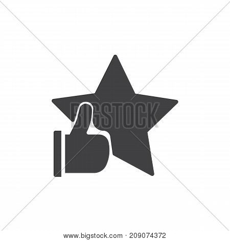 Rating with star and thumb up icon vector, filled flat sign, solid pictogram isolated on white. Success symbol, logo illustration.