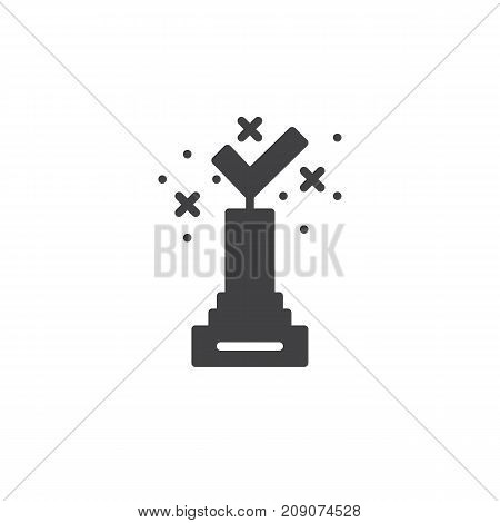 Award prize icon vector, filled flat sign, solid pictogram isolated on white. Achievement symbol, logo illustration.