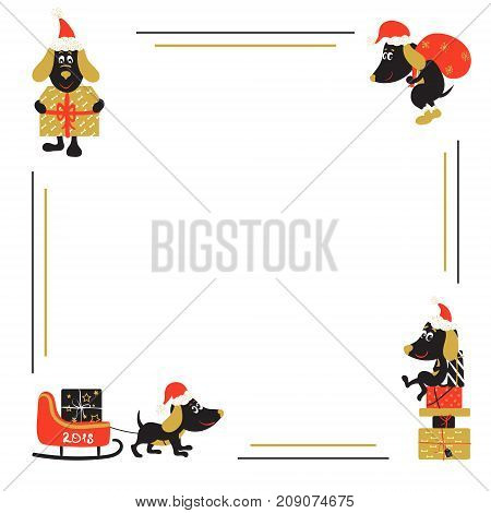 Christmas or New Year vector background with cartoon dog, symbol of 2018 year