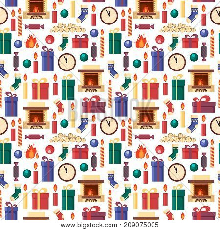 Seamless pattern christmas elements - gifts, clock, candle, fireplace, socks, wood, candy. Colorful festive objects for greeting card in flat style - stock vector illustration.