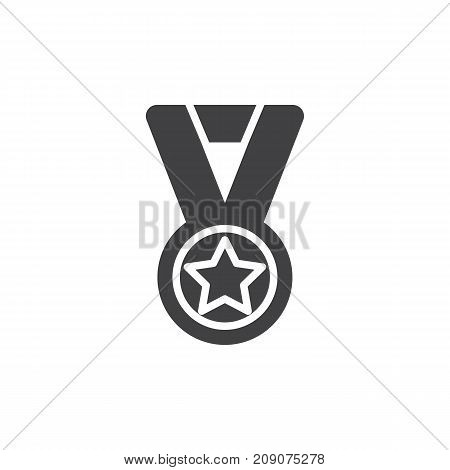 Medal with star icon vector, filled flat sign, solid pictogram isolated on white. Achievement symbol, logo illustration.