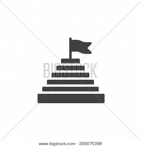 Pyramid with flag on top icon vector, filled flat sign, solid pictogram isolated on white. Achievement symbol, logo illustration.