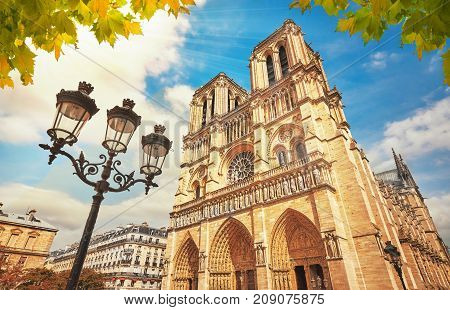 Notre-dame Cathedral In Paris France With Golden Light Rays.