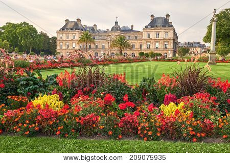Jardin Du Luxembourg And Palace In Paris France.
