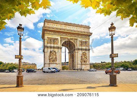 Famous Arc de Triomphe in Paris Place Charles de Gaulle