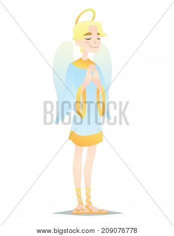 Angelic boy. Cute young man in style of Angel with wings praying. Vector illustration of spiritual creature in flat cartoon style on a white background. Element for design, prints, greeting card.