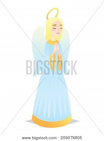 Angelic girl. Cute young woman in style of Angel with wings praying. Illustration of spiritual creature in flat cartoon style on a white background. Element for design, prints, greeting card. Vector.