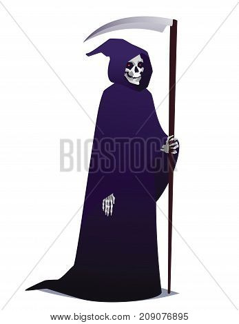 Grim Reaper holding Scythe. Death character in dark robe with hood going for Costume party. Vector illustration in flat cartoon style on white background. Element for your design, print. Halloween.