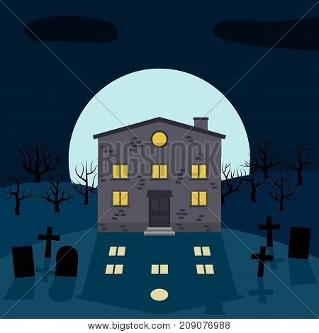 A lonely house at night in front of the Moon. Vector background for Halloween