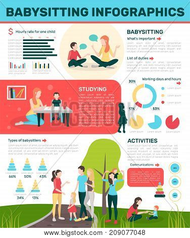 Babysitters people flat infographics with doodle style human characters salary circular graphs and editable text paragraphs vector illustration
