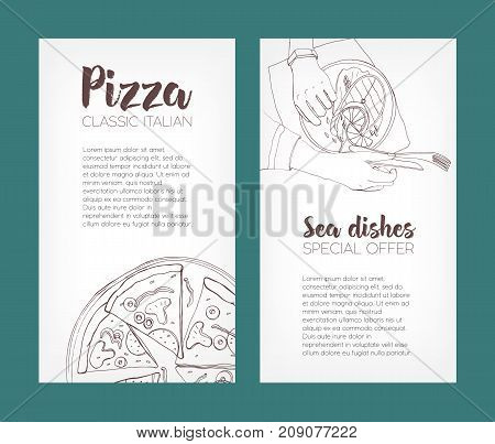 Set of flyer templates with contour drawings of classical pizza and grilled salmon steak on plates and place for text. Hand drawn vector illustration for pizzeria or seafood restaurant advertisement