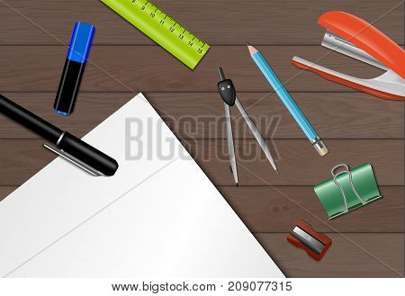 Stationery paper background with part of a wooden table with pens and pencils lying on it vector illustration