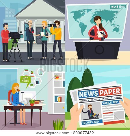 News design concept including reporter with interview, tv studio with program, blogger, newspaper isolated vector illustration