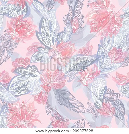 Seamless romantic texture with doodle ornamental flowers and tribal elements in pastel red and grey colors on soft pink background