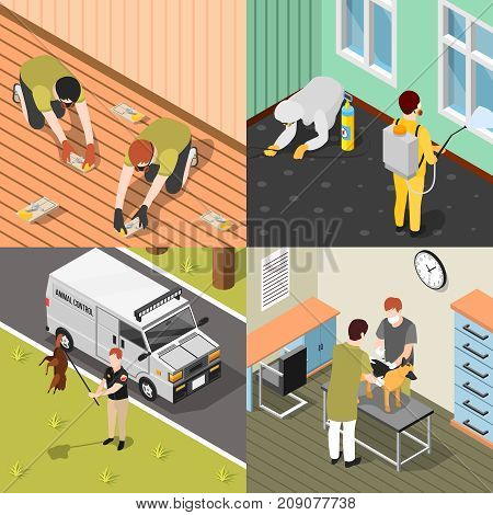 Pest control 2x2 isometric design concept with house disinfection rats destruction catching of beavers and animal inspection  square compositions vector illustration