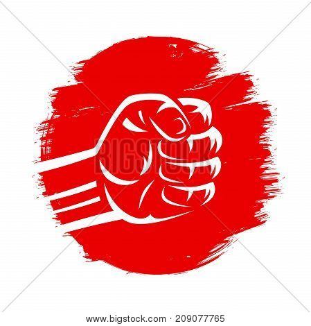 Clenched fist vector illustration on red brush stroke circle hand drawn paint japan flag grunge style. Mixed martial arts karate fighting boxing judo sumo wrestling.