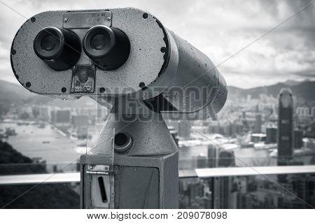 Monochrome Photo Of Binocular Telescope