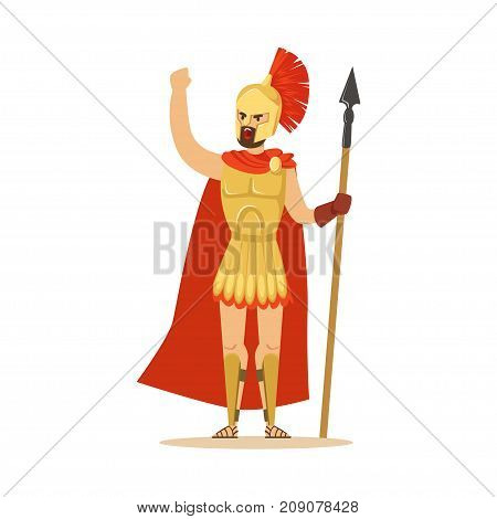 Spartan warrior character in armor and red cape with spear raised up clenched fist, Greek soldier vector Illustration isolated on a white background