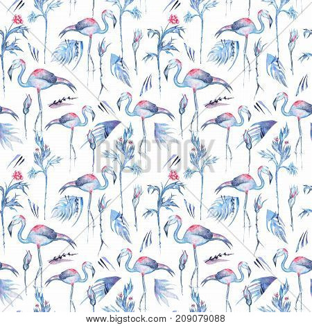 Seamless texture with frosty blue exotic plants, flowers and birds on white background for textile and wallpaper design