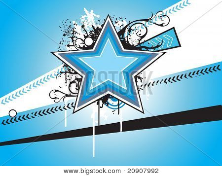 blue banner with star, arrow and flower, vector illustration