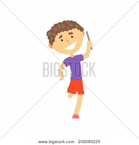 Happy boy participating in a relay race, kids physical activity cartoon vector Illustration isolated on a white background