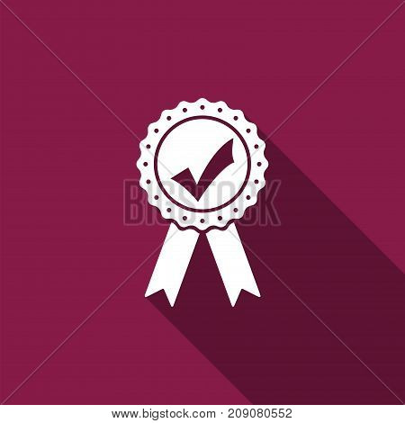 Approved or certified medal with ribbons and check mark icon isolated with long shadow. Flat design. Vector Illustration