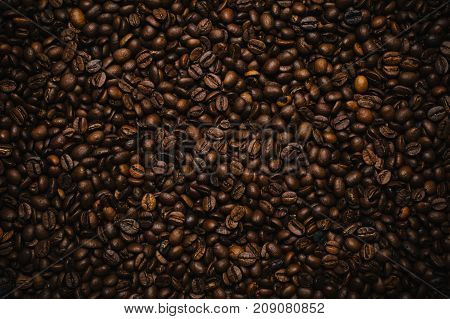 Top view of coffee beans background texture