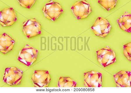 A photo of plastic rhinestones with copy space