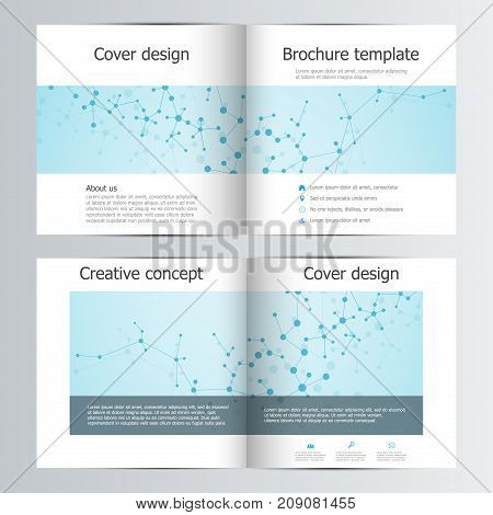 Square brochure template with polygonal abstract background. Medical, scientific and technological concept. Vector illustration