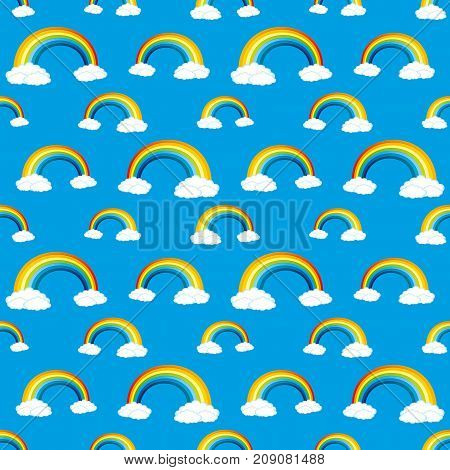 Seamless pattern for blue background with rainbows and clouds.