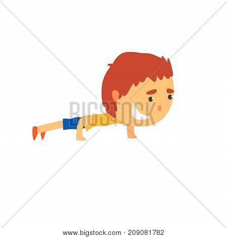 Sportive boy doing push up, kids physical activity cartoon vector Illustration isolated on a white background