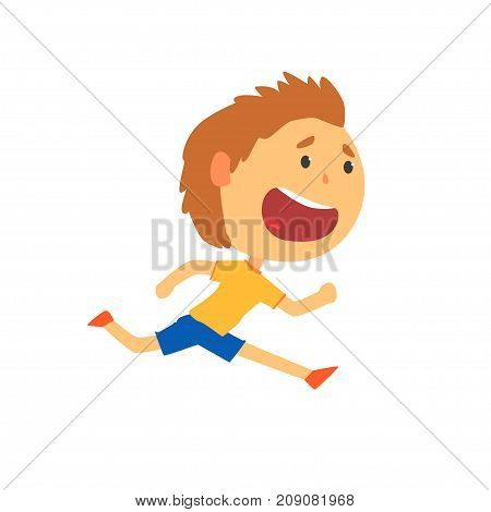Happy boy running, kids physical activity cartoon vector Illustration isolated on a white background
