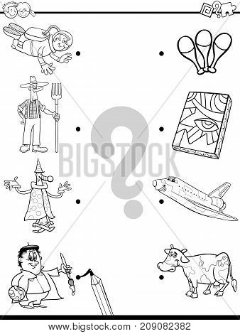 Match People And Objects Coloring Book