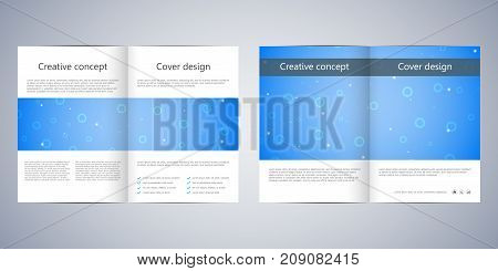 Bi-fold business brochure template with abstract background. Geometric graphics and connected lines with dots. Medical, technological and scientific concept. Vector illustration