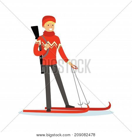 Male biathlete skier character, active sport lifestyle vector Illustration isolated on a white background