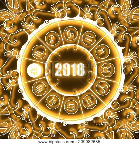 Astrological symbols in the circle. Scales sign. Celebration card template. Neon shine illumination. Zodiac circle with 2018 new year number. 3D rendering