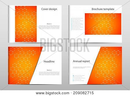 Rectangle brochure template layout, cover, annual report, magazine in A4 size with hexagon graphics. Geometric abstract background. Technological and scientific concept. Vector illustration