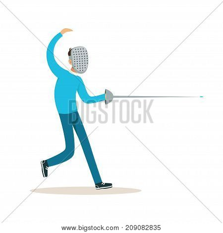 Male fencing athlete character practicing with sword, active sport lifestyle vector Illustration isolated on a white background