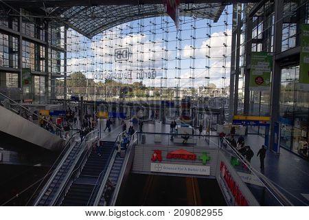 Berlin Germany - October 8 2017: Berlin central station (Hauptbahnhof) on October 8 in Berlin Germany.
