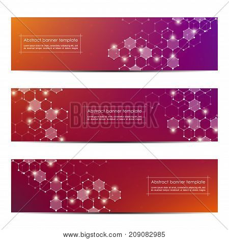 Set of abstract banner design, dna molecule structure background. Geometric graphics and connected lines with dots. Scientific and technological concept, vector illustration