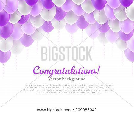 Congratulation banner violet flying balls background above. Congratulation banner with violet flying balls background from above. Balls backdrop as a vector illustration