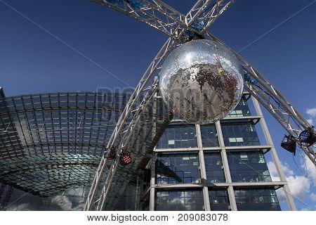Berlin Germany - October 8 2017: Part of Berlin central station (Hauptbahnhof) on October 8 in Berlin Germany.