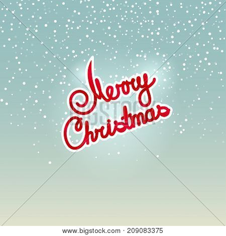 Merry Christmas Colorful Text Merry Christmas on Snowfall Background in Turquoise Shades Winter Background with the Words Merry Christmas