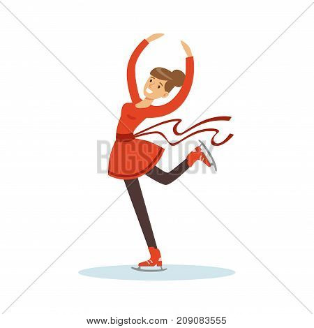 Figure skating girl training on the ice, active sport lifestyle vector Illustration isolated on a white background
