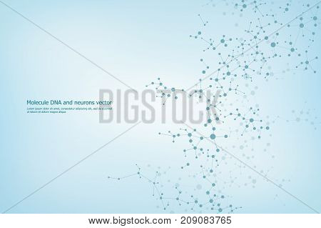 Abstract molecule background, genetic and chemical compounds, medical, technology or scientific concept, vector illustration