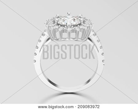 3D illustration white gold or silver solitaire decorative diamond ring with shadow and reflection on a grey background