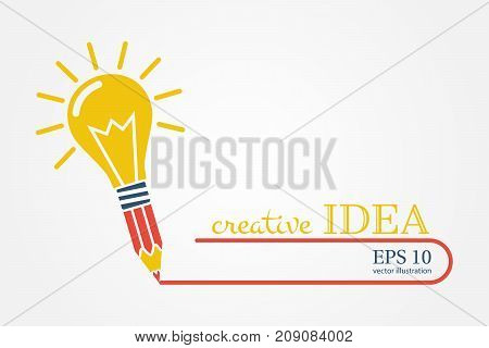 Creative ideas concept. Pencil with light bulb, color silhouette icon. Innovation, solution. Success in education, art, work project. Vector illustration flat design. Isolated on yellow background.