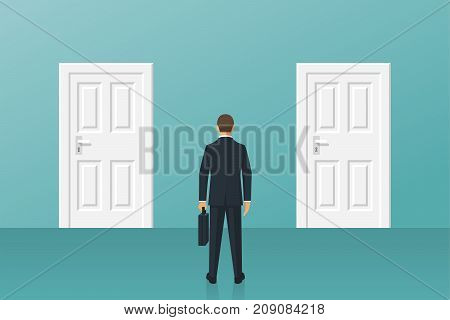 Businessman standing in front of two closed doors. Choice way. Decision business metaphor. Vector flat style design. Isolated on background. Human before choosing. Dilemma concept.