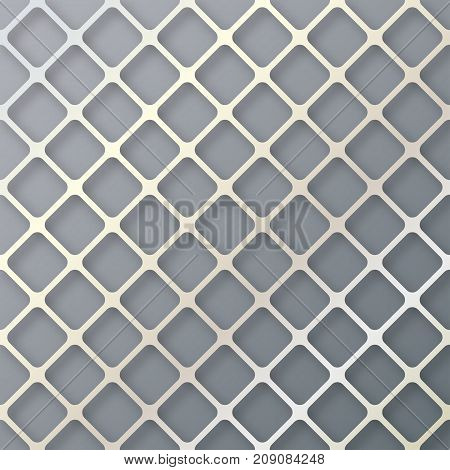 Geometric cellular pattern. Abstract spatial metallic structure with a shadow. Stack of pearl net background