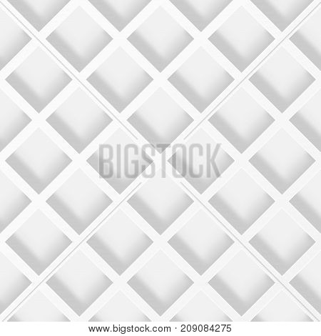 Geometric cellular pattern. Abstract spatial monochrome structure with a shadow. Stack of white net background